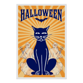 Gato de Halloween y poster de los fantasmas