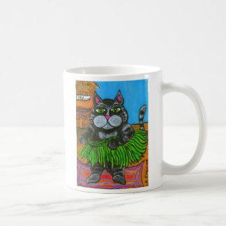 Gato de Hula en una taza de la barra de Tiki