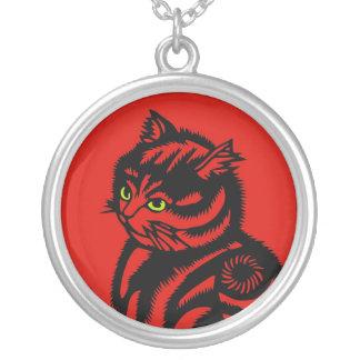 Gato de Katagami Collar Plateado