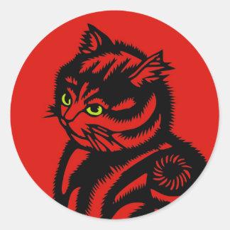 Gato de Katagami Pegatina Redonda