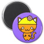 Gato de Kawaii en un gorra Imán Para Frigorifico
