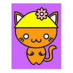 Gato de Kawaii en un gorra Tarjeta Postal