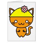 Gato de Kawaii en un gorra Tarjetón