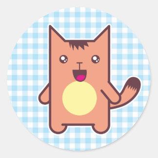 Gato de Kawaii Etiqueta Redonda