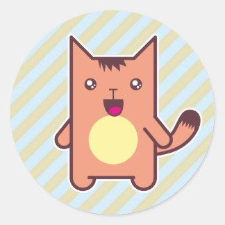 Gato de Kawaii Etiquetas Redondas
