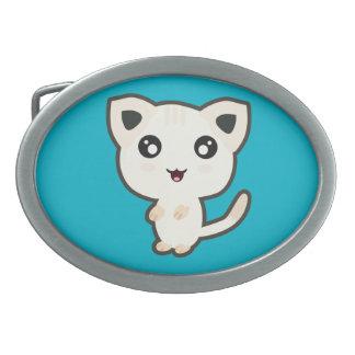 Gato de Kawaii Hebilla De Cinturon Oval