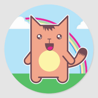 Gato de Kawaii Pegatina Redonda