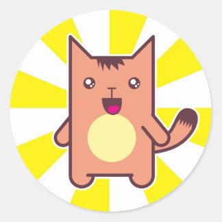Gato de Kawaii Pegatinas Redondas