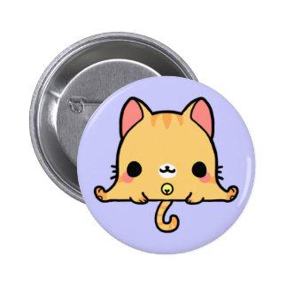 Gato de Kawaii (usted cambia el fondo!) Pin Redondo De 2 Pulgadas