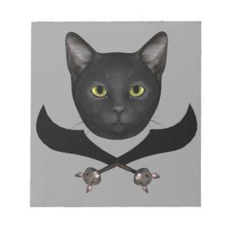 Gato de la bandera de pirata bloc de papel