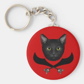 Gato de la bandera de pirata llavero redondo tipo pin
