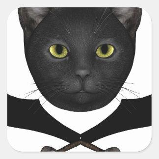 Gato de la bandera de pirata calcomanías cuadradass personalizadas