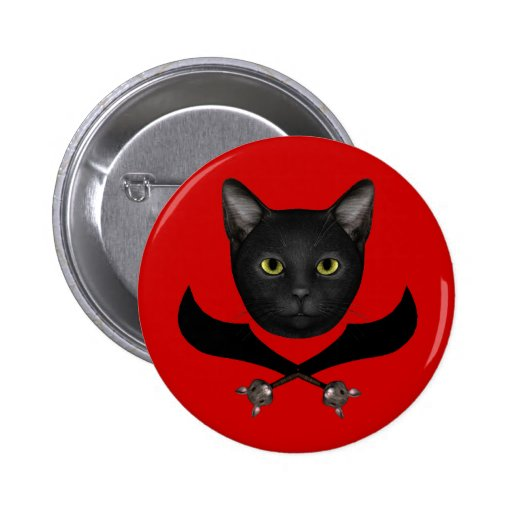 Gato de la bandera de pirata pin