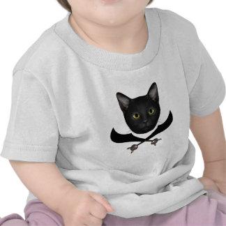 Gato de la bandera de pirata camiseta