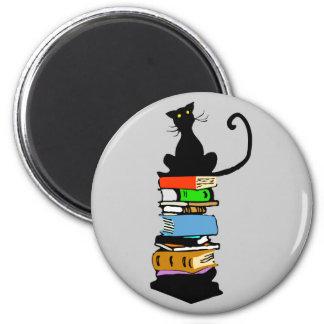 Gato de la biblioteca imán redondo 5 cm
