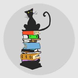 Gato de la biblioteca pegatinas redondas