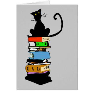 Gato de la biblioteca tarjeta de felicitación