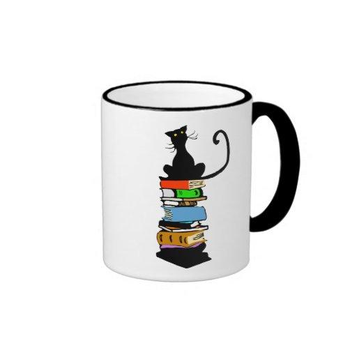 Gato de la biblioteca tazas de café