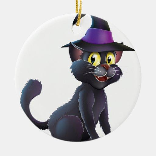 Gato de la bruja de Halloween Adorno Redondo De Cerámica