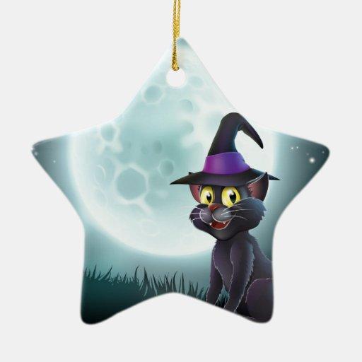 Gato de la bruja de la Luna Llena de Halloween Ornatos