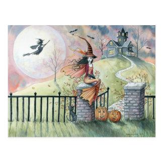 Gato de la bruja de la postal de Halloween del tru