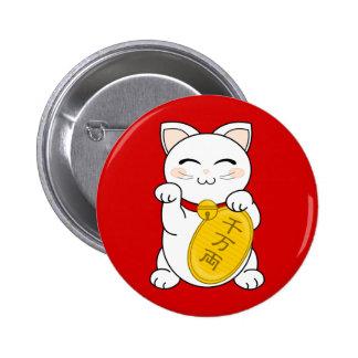 Gato de la buena fortuna - Maneki Neko Pin Redondo De 2 Pulgadas