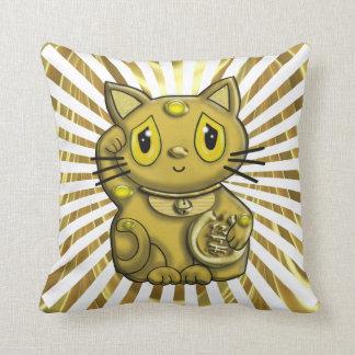 Gato de la buena suerte de Maneki del oro que Cojín
