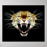 Gato de la cabeza del leopardo del rugido impresiones