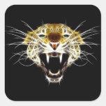 Gato de la cabeza del leopardo del rugido pegatina cuadrada