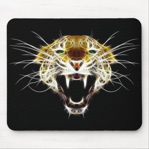 Gato de la cabeza del leopardo del rugido alfombrillas de raton