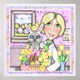 Gato de la cesta de Pascua con el veterinario Póster
