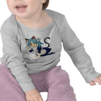Gato de la colegiala del animado en sus rodillas camiseta