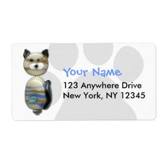 Gato de la cuenta de cristal de Brown azul Etiqueta De Envío
