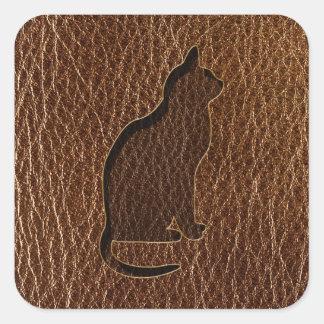 Gato de la Cuero-Mirada Pegatina Cuadrada