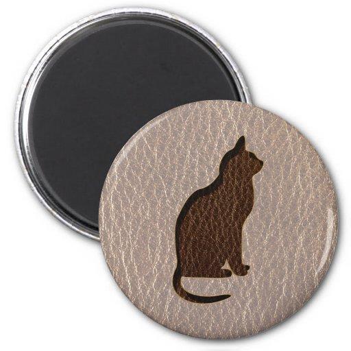 Gato de la Cuero-Mirada suave Imán Para Frigorifico