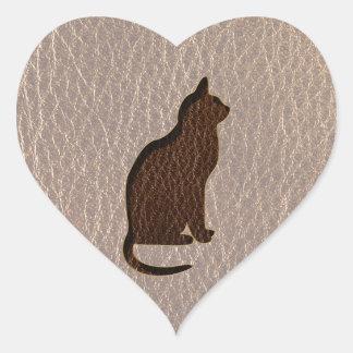 Gato de la Cuero-Mirada suave Pegatina En Forma De Corazón