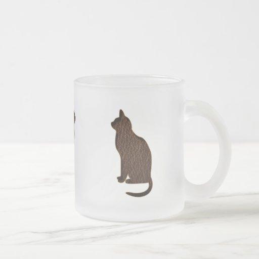 Gato de la Cuero-Mirada Taza De Cristal
