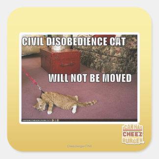 Gato de la desobediencia civil pegatina cuadrada