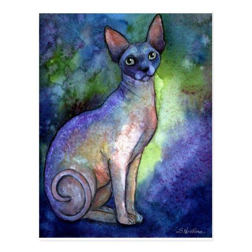 Gato de la esfinge de Sphynx de la acuarela # 2 Postal