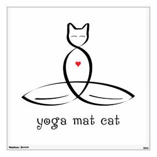 Gato de la estera de la yoga - texto de lujo del e