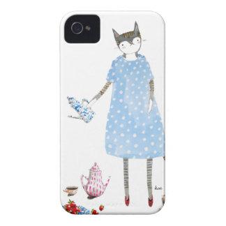 Gato de la fiesta del té en un vestido del caminan Case-Mate iPhone 4 protector