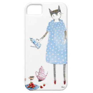 Gato de la fiesta del té en un vestido del caminan iPhone 5 Case-Mate carcasas