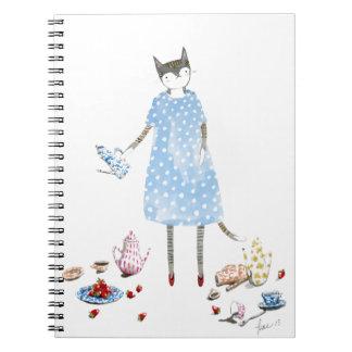 Gato de la fiesta del té en un vestido del caminan libro de apuntes