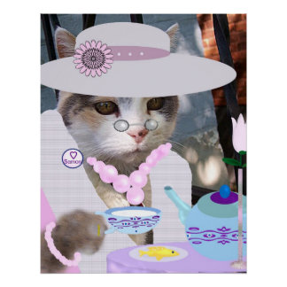 Gato de la fiesta del té póster