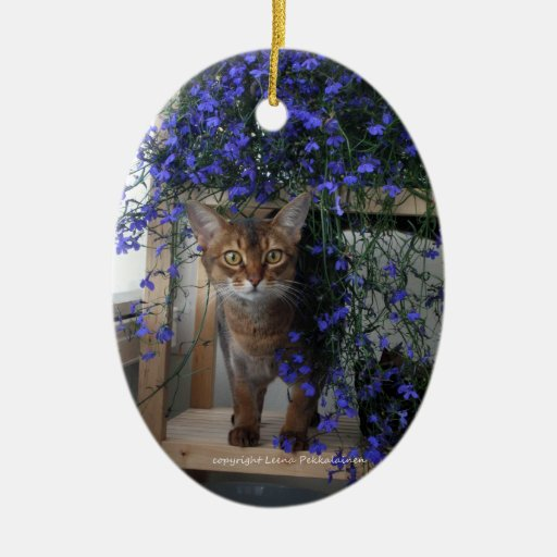 Gato de la flor adorno navideño ovalado de cerámica