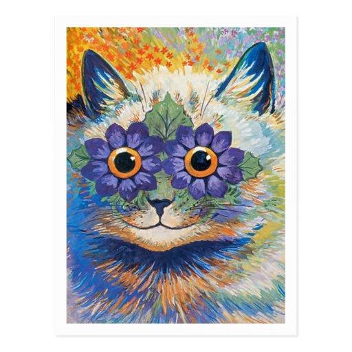 Gato de la flor de Louis Wain Tarjeta Postal
