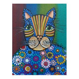 Gato de la flor del ARTE POPULAR POR la postal de