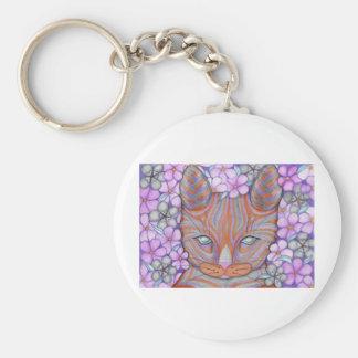 Gato de la flor llavero redondo tipo pin