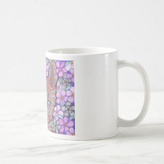 Gato de la flor taza básica blanca