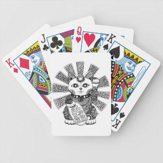 Gato de la fortuna barajas de cartas